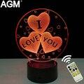 O Amor romântico da Forma Do Coração 3D LED Tabela Night Light Touch & Remoto controle do Sono Noite Lâmpada de Mesa Para O Presente do Dia Dos Namorados Mostrar amor