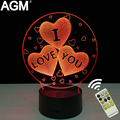 Romantic Love Heart Shape LED 3D Table Night Light Touch&Remote Control Sleep Night Desk Lamp For Valentine's Day Gift Show Love