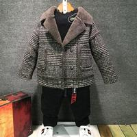 Baby Furry Jacket Winter Overcoat 2019 Fall New Boys Plaid Woolen Coat Children's Casual Velvet Thicked Outerwear Clothes X478