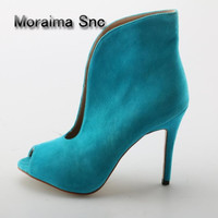 Moraima Snc Brand Woman shallow pumps 2018 spring peep toe women shoes blue red high heels ankle boots for women Promotions