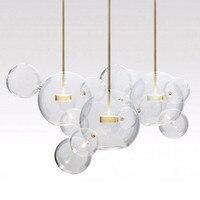Post modern Nordic Mickey Bubble Glass Balls Led Pendant Light for Dining Room Foyer Bar Bed Room Metal Glass Lamp 110/220V 2282
