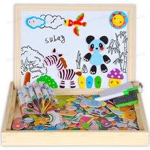 Лес животных деревянный магнитный мольберт доска головоломки Ящик для игрушек с черная доска, белая доска для детей, чтобы drawZC030-