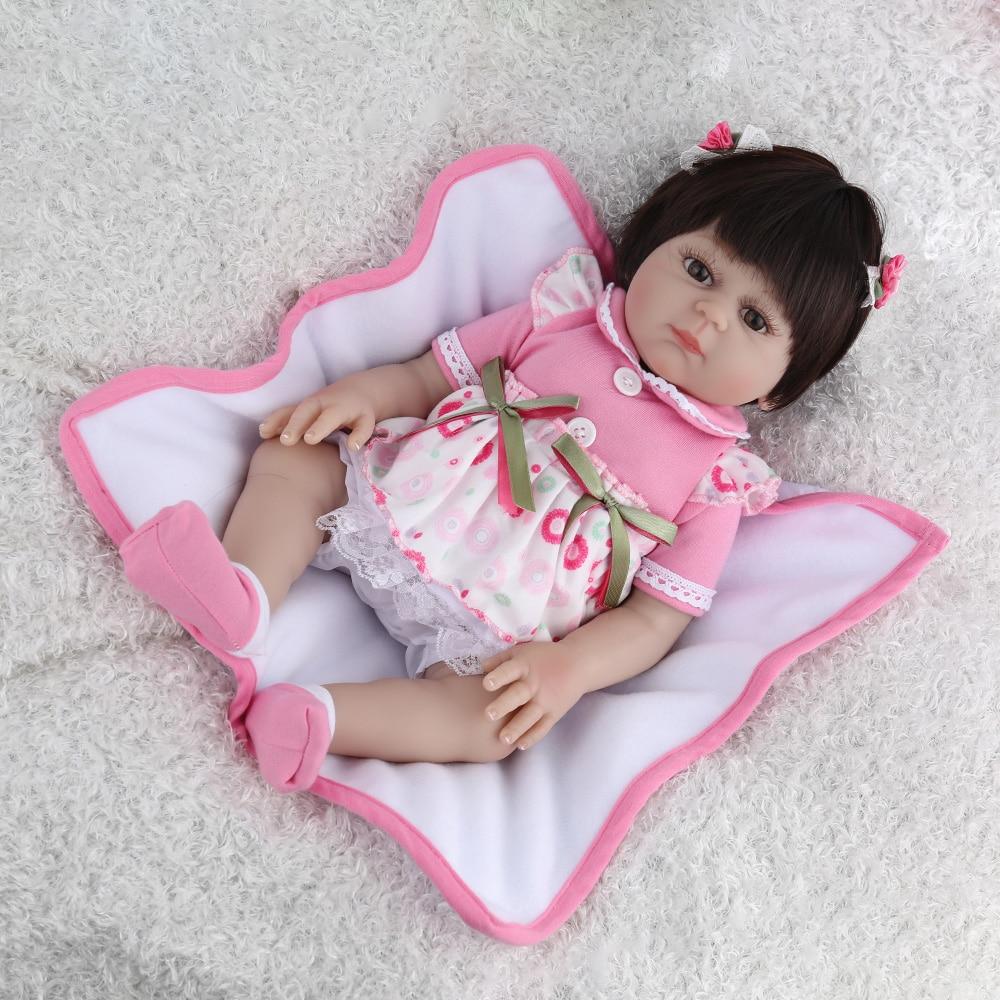 NPKDOLL 17 pouces Reborn bébé poupée pleine vinyle rose princesse fille Liflike nouveau-né bain bébés Collection cadeau d'anniversaire mignon Boneca - 3