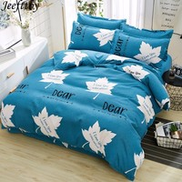 Home Textile Thicken Plant Leaves Bedding Set Queen Size Duvet Cover Teen Boy Girl Linen King Twin Bed Sheet Pillowcase 3/4pcs