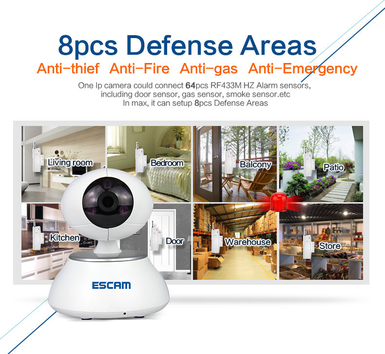 ESCAM QP550  Motion Detection Alarm Wireless IP Camera escam wifi alarm system 433mhz 1527 motion detection ip camera hd 720p