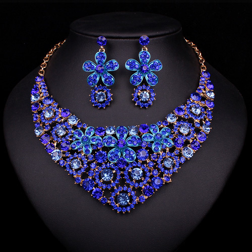 Hesiod Indian Wedding Jewelry Sets Gold Color Full Crystal: Fashion Dubai Necklace Earrings Bridal Jewelry Sets Bride