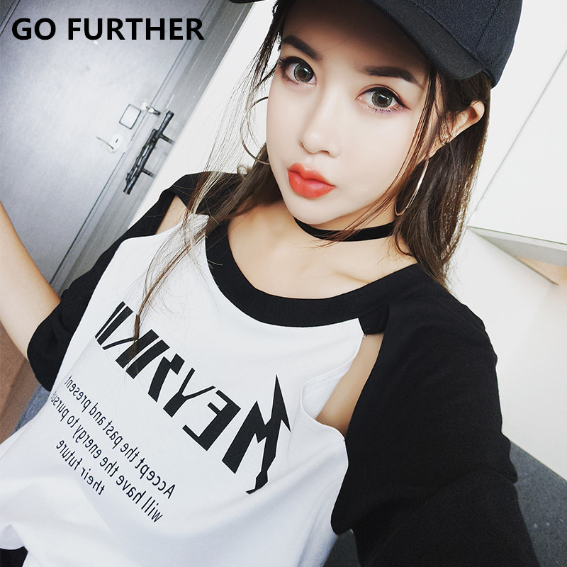 GO FURTHER Summer new arrival 2017 letter print t font b shirt b font female hole