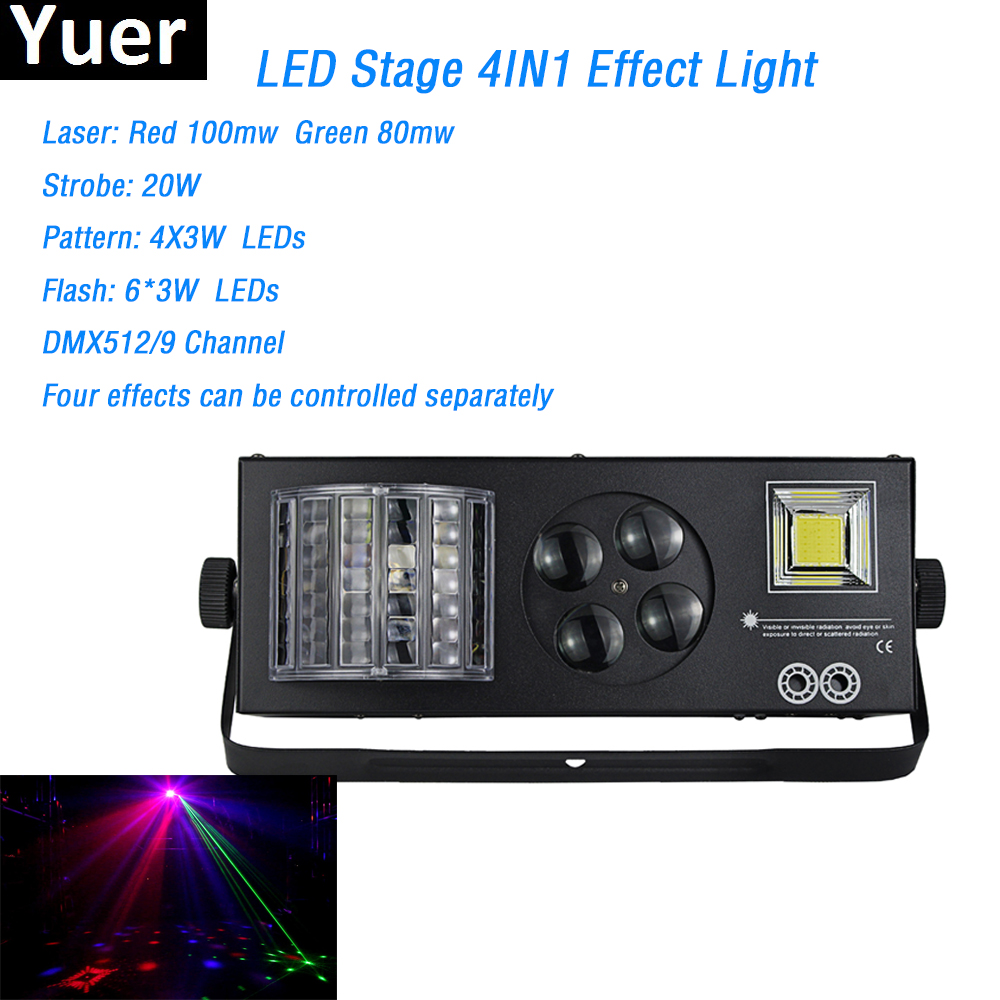4x3W spot stage effect lighting laser strobe pattern flash 4in1 light dmx512 for dj ktv disco light Party Wedding laser light