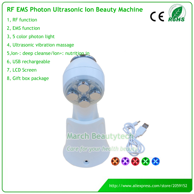 Portable RF Needle Free EMS Anti-aging Acne Removal Face Whitening Ultrasonic Microcurrent Galvanic Ion Photon Beauty Device kingdom kd 9900 ems rf electroporation beauty device