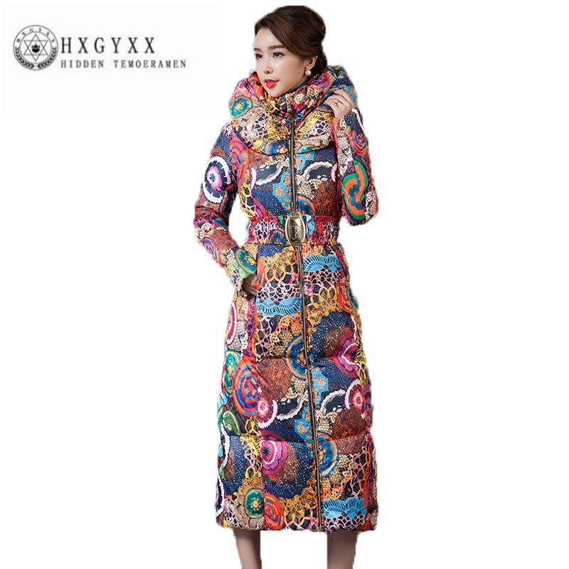 цена Fashion Snow Wear Hooded Ladies Coats 2017 Winter Women Military Parka Long Warm Slim Puffer Jacket Print Cotton Outerwear Okb88 онлайн в 2017 году