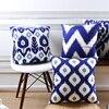 Wholesales Soft Velvet Cushion Cover Blue Ikat Geometric Home Decorative PillowCase 45x45cm 30x50cm