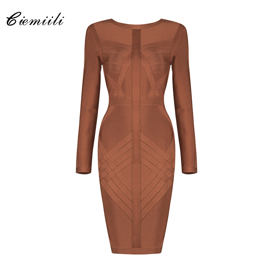 CIEMIILI Full Sleeves O Neck Above Knee Mini Back Zipper Bodycon Spandex Women 2018 Winter Celebrity