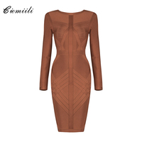 CIEMIILI Full Sleeves O Neck Above Knee Mini Back Zipper Bodycon Bandage Women 2017 Winter Celebrity