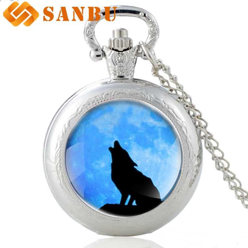 Silver Necklace Wolf Pocket Watch Antique Men Women Fashion Charm Jewelry Pendnat