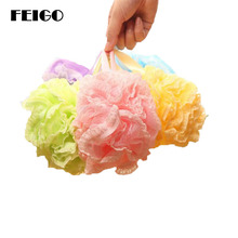 FEIFO 1Pcs Lace edge Bath Ball Tubs Cool Ball Bath Towel Scrubber Body Cleaning Mesh Shower Sponge Wash Bathroom Accessories F06
