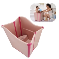 New Kids Large Folding Baby Bathtub Thickened Vertical Bath Bucket Baby Tubs Bath Wash Cup Shampoo Cup Splashing Cup for Washing