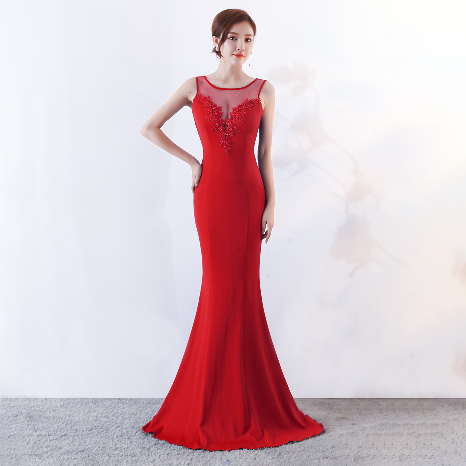 Corzzet Elegant Long Mermaid Bridal Dress Red Floral Appliques Mesh V-neck Women Fashion Club Dress Celebrity Party Dress Preventing Hairs From Graying And Helpful To Retain Complexion Women's Clothing