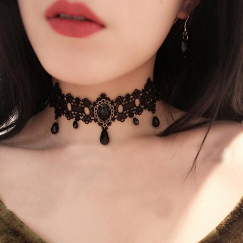 2017 fashion Gothic Victorian Crystal Tassel Tattoo Choker Necklace Black Lace Choker Collar Vintage Women Wedding Jewelry chifres malevola png