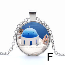 Wholesale Silver Plated Chain Glass Cabochon Jewelry santorini Art Picture Pendant Necklace For Women bule white dream(China)