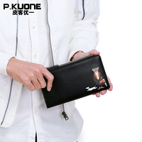 P KUONE Brand 100 Genuine Leather Men Long Credit Card Holder Fashion Pattern Leather Zipper Bill