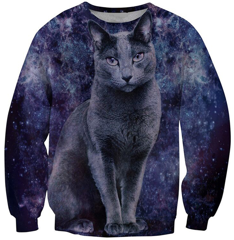 2018 new brand 3d animal sweatshirt printed Novelty cat crewneck hoodies cat space galaxy 3d sweatshirts hoody tops casual