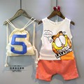 2016 New Summer Childrens Clothes Baby Cartoon Shorts + Neutral Vest Suit Two Pieces (No Package) Boys And Girls Dress Sets
