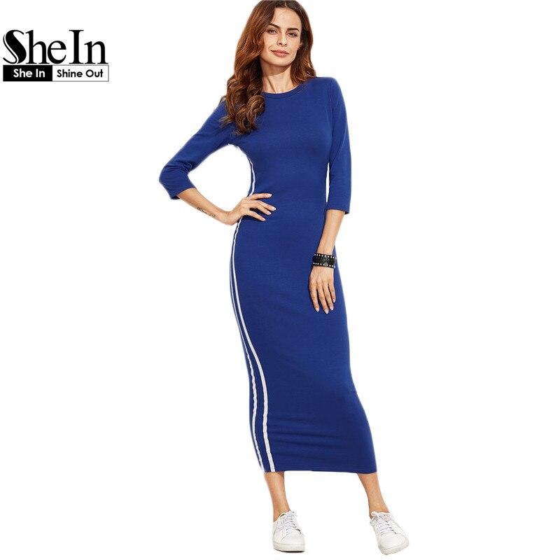 Shein vestidos atractivos 2017 nueva llegada lápiz dress mujeres rayado azul lad