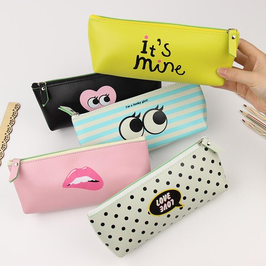 1 pcs Creative Pencil Case PU Leather School Supplies Stationery Gift Cute Modern Girl Pencil Box Pencilcase  Пенал