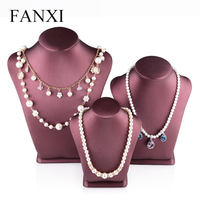 Oirlv Free Shipping Fashion Red PU Leather Necklace Holder Pendant Display Bust Jewelry Mannequin Trade Show