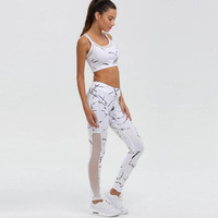 2017 Print White Sports Suit Running Clothes Sports Bra Workout Fitness Patchwork Mesh Pants Leggings Women Yoga Sets