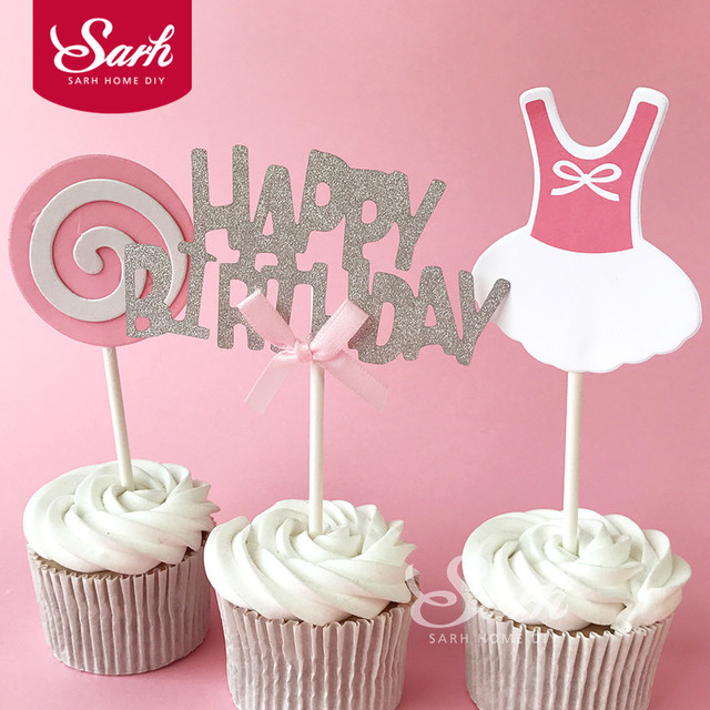 3PACKS Happy Birthday Party Baby Boy Girl Lollipop Cake Topper With Plasticstick Decorations Lovely Cute Gifts CK868