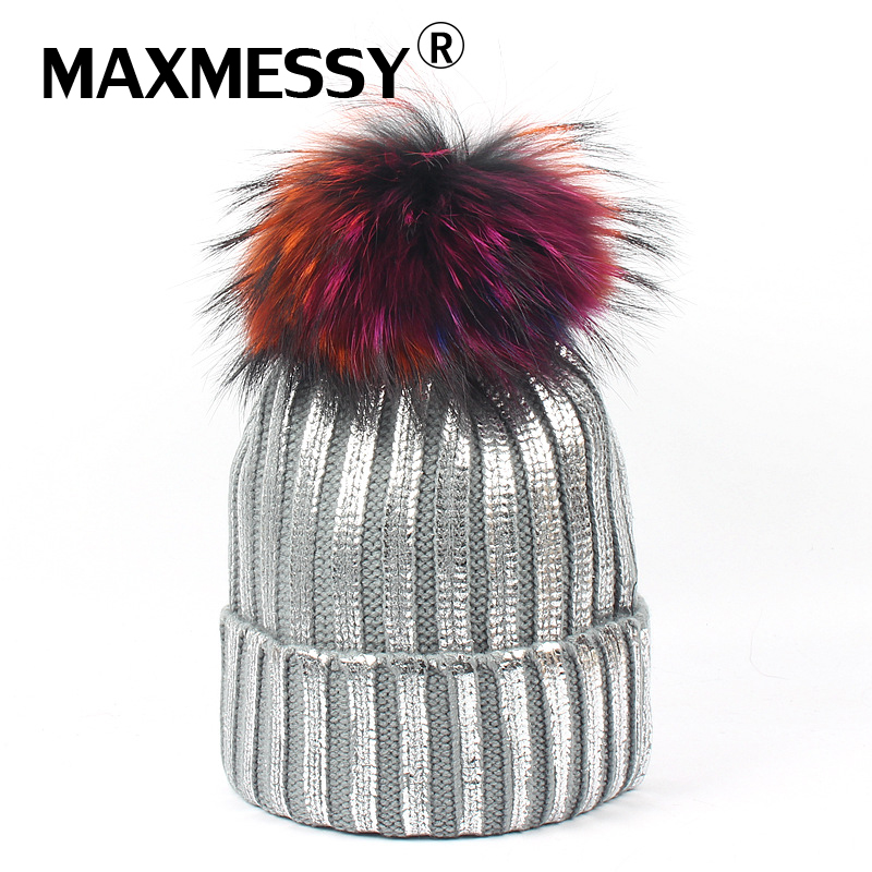 MAXMESSY Bronzing Silver Caps Colorful Raccoon Fur Pompon Hat For Women Winter Knitting Warm Hats Female   Skullies     Beanies   MH145
