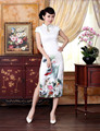 Sexy Cheongsams Dress Chinese Traditional Clothing Vintage White Silk Flowers High Split Long Cheongsam Qipao Dresses Plus Size