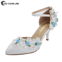 Shoes Women Sandals New Arrival High Quality White Wedding Shoes Female Blue Flower Lace Shoes Dress