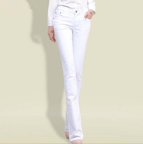 b4222cf46e placeholder 2017 Spring Woman Black White Jeans Straight Cut Boot Flare  Jeans For Women Push Up Skinny
