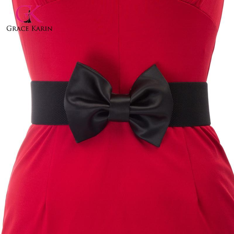 Grace Karin Ladies Womens Bow-Knot Stretchy Elastic Waist Belt Waistband 2020 New Fashion For Formal Or Casual WaistBelt
