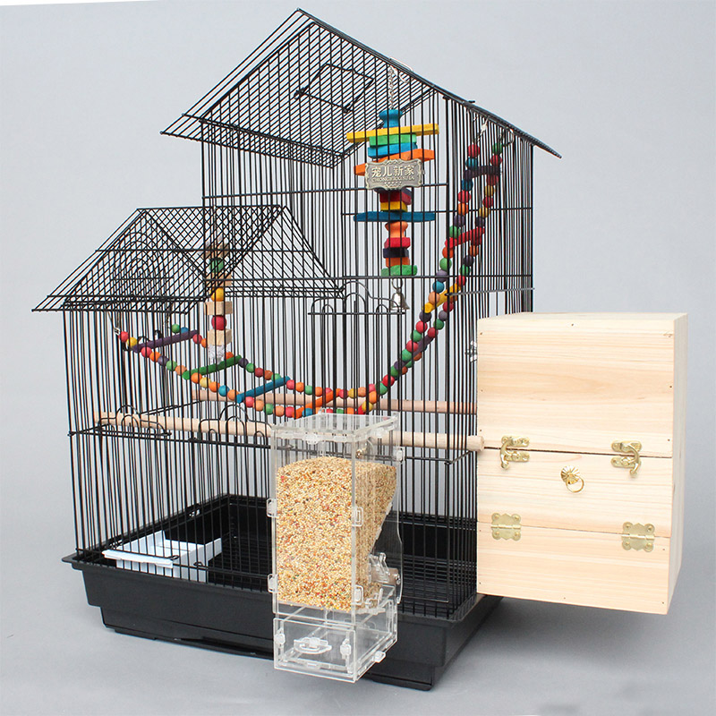 Super Larger Short Double House Proof Metal Iron Bird Cages Black White Parrot Cage Pet Cages Aviaries For Birds A09