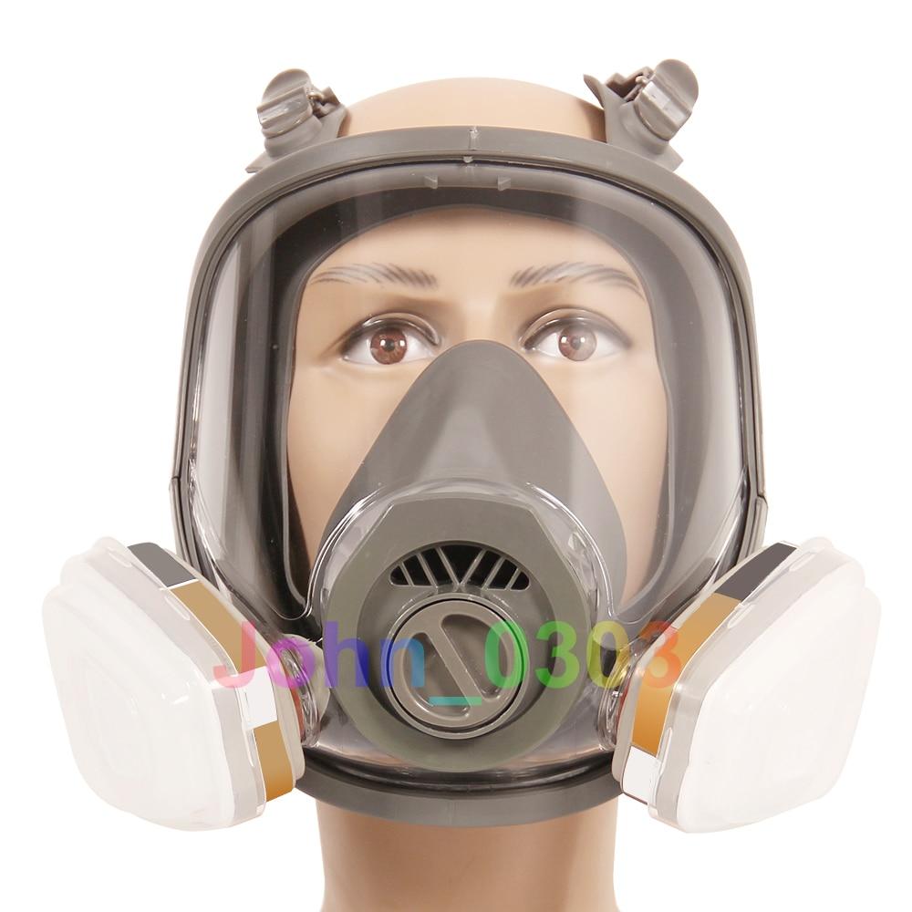 7 Pcs Suit Anti-fog 6800 Full Face Respirator Gas Mask Facepiece Painting Spraying 2 in 1 function