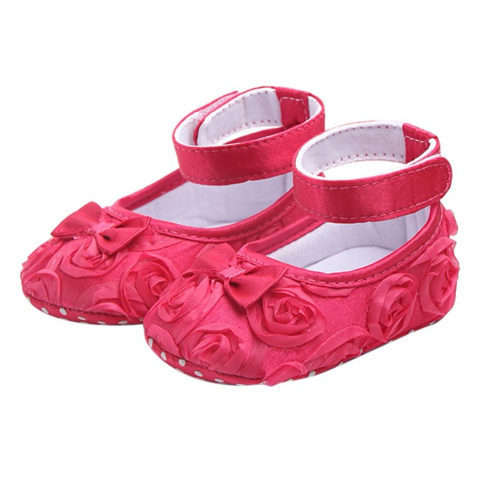 Baby First Walkers Girls Rose Baby Toddler Shoes 2018 New Fashion Cotton Fabric Solid Butterfly-knot Slip-On First Walkers