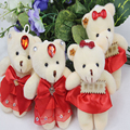 2017 New Year Gift 12CM 4pcs/lot PP Cotton Kid Toys Plush Doll Mini Small Teddy Bear Flower Bouquets Bear For Wedding DDW06