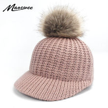 Purchase Women Girl Warm Bone Snapback Hat Female Autumn Winter Faux Fur Pom Pom Hats Hip Hop Felt Baseball Cap For Adults and Children saleoff