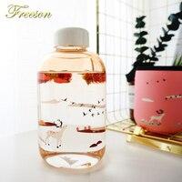 Креативные градиентные цветные стеклянные бутылки для воды с рукавом милые бутылки с оленем дельфином 600 мл Тур Спортивная бутылка для влюб...