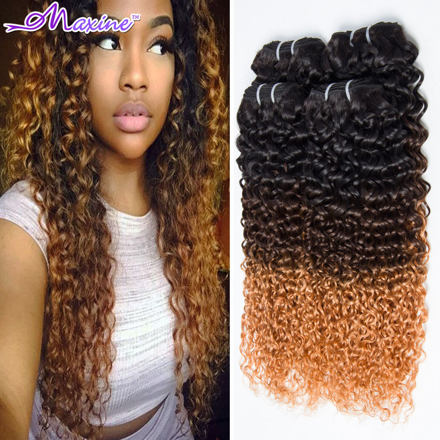 3 Tone Ombre Hair Extensions Brazilian Curly Virgin Hair 4