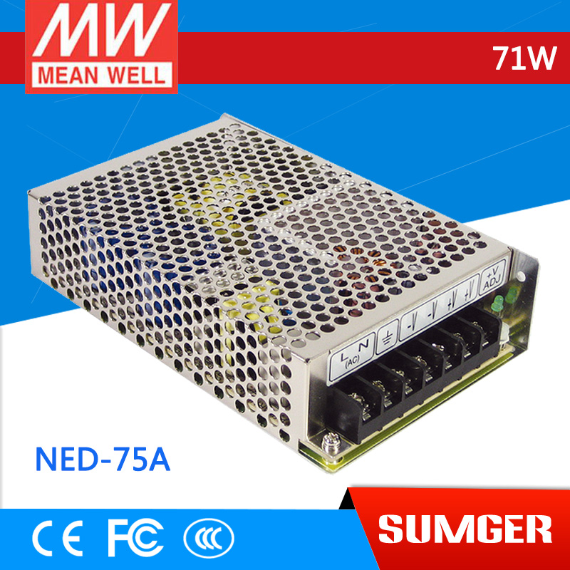 все цены на [Only on 11.11] MEAN WELL original NED-75A meanwell NED-75 71W Dual Output Switching Power Supply онлайн