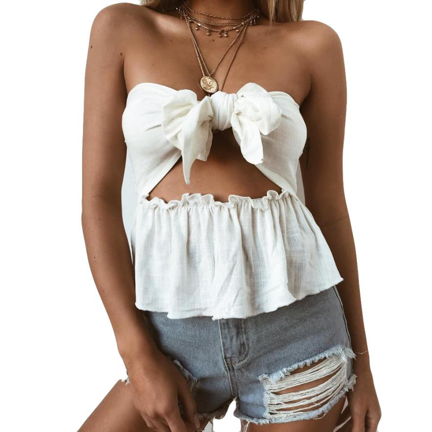 feitong 2018 New Spring Summer Fashion Sexy Womens Sleeveless Off Shoulder Ladies Bowknot Tops Girls Casual T Shirt Clothes Tees