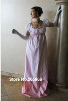 Free Shipping Custom Two Color Round Gown Regency Jane Austen Ball Empire formal Dress