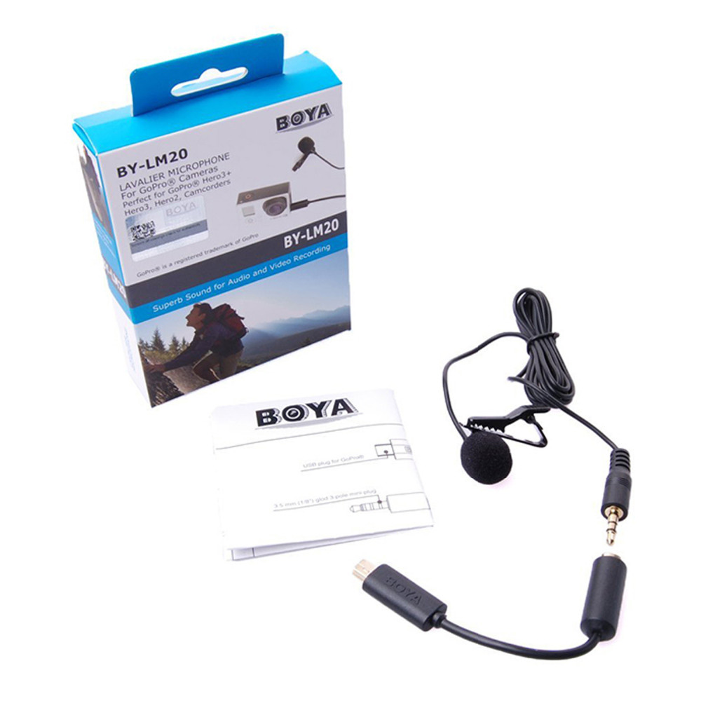 BOYA BY-LM20 Lavalier Clip-on MIC Microphone Omni Directional Condenser Microphone for GoPro Hero 5/4/3 & Camcorders DSLR boya by wm5 lavalier clip on mic audio studio recorder wireless microphone microfone for canon sony gopro dslr camera camcorder
