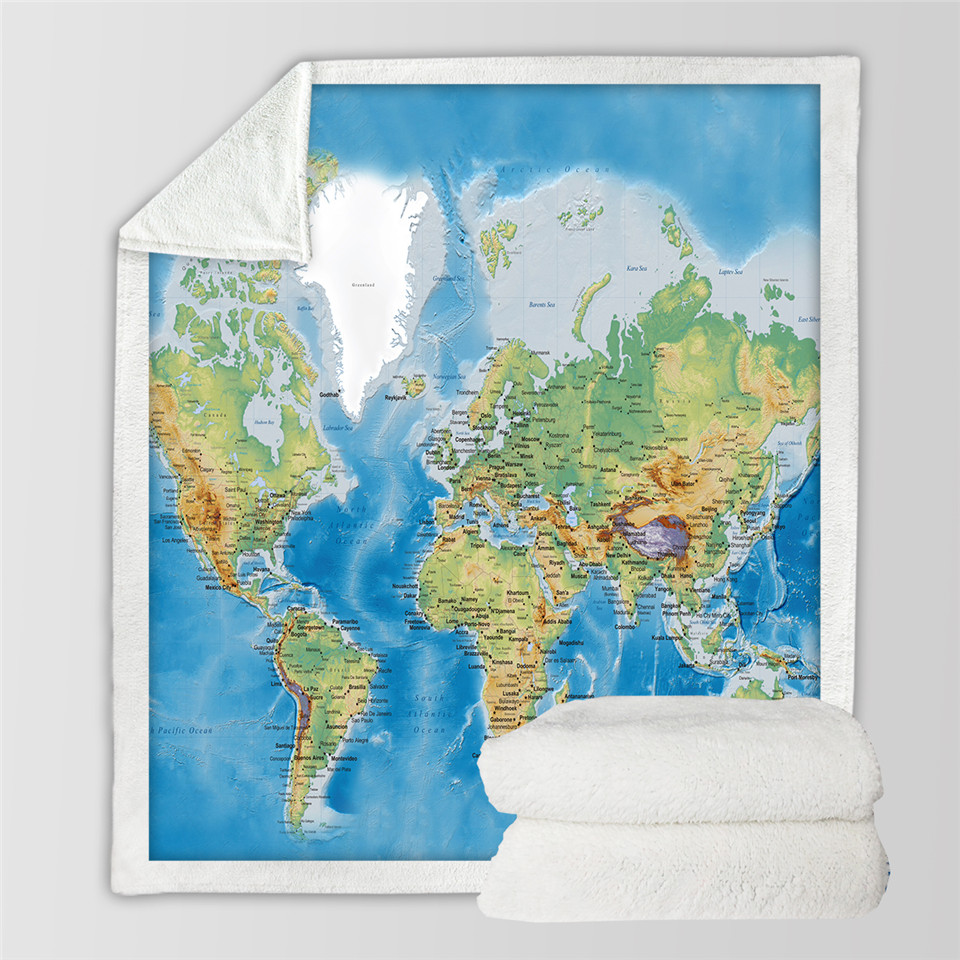 Beddingoutlet blue sherpa throw blanket world map vivid printed beddingoutlet blue sherpa throw blanket world map vivid printed sherpa fleece blanket super soft cozy velvet plush throw blanket in blankets from home gumiabroncs Images