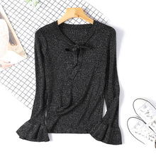 Shiny Lurex Slim Women Sweater Knitted Lace Up Bow Flare Long Sleeve Ruffle Knitting Pullover Womens Sweaters Black