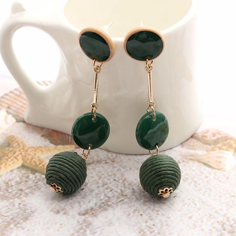2017 Long Acrylic Dangle Earring Round Earring Brincos Round Pendant Drop Earrings Women Trendy Fashion Jewelery